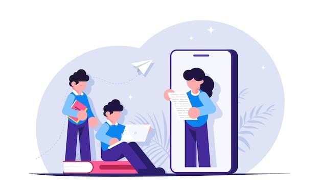 Mensen tijdens het browsen door het webinar. online onderwijs door video's te bekijken op uw mobiele telefoon