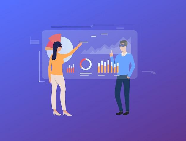 Mensen tikken op futuristische virtuele schermen met diagrammen
