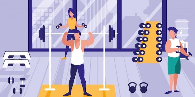 Mensen tillen gewichten in de sportschool