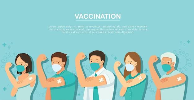Mensen tonen gevaccineerde vaccinatie concept