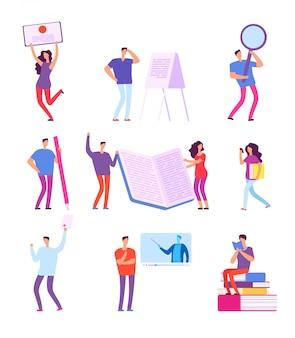 Mensen trainen. onderwijs e-learning, online cursus videozelfstudie, afstandsstudies