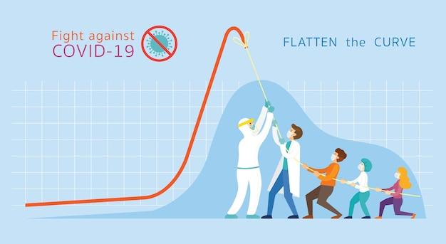 , mensen trekken graph chart, tien het curve-concept naar beneden