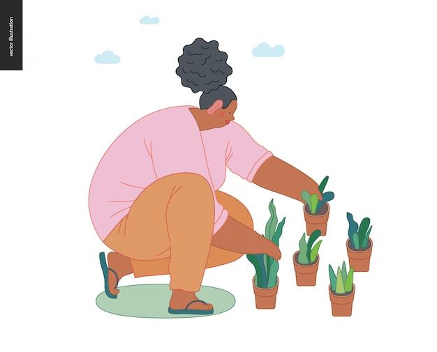 Mensen tuinieren, lente