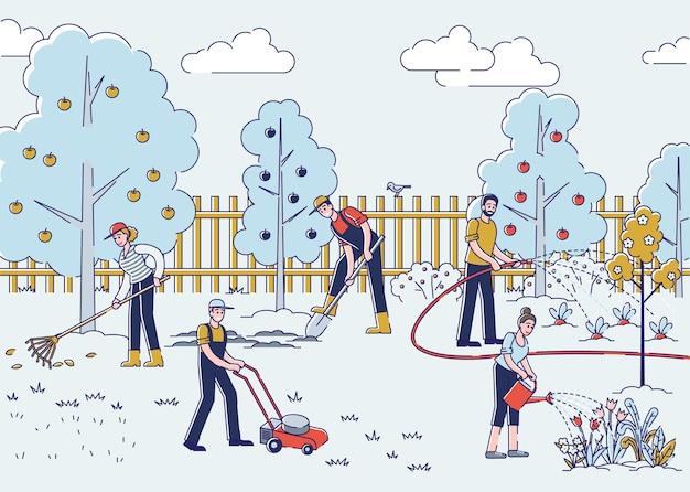 Mensen tuinieren. mannen en vrouwen planten planten