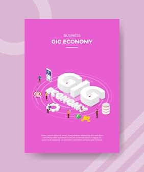 Mensen uit de zakelijke gig-economie staan rond het doel van de smartphonegegevens van de woord-gig-economie