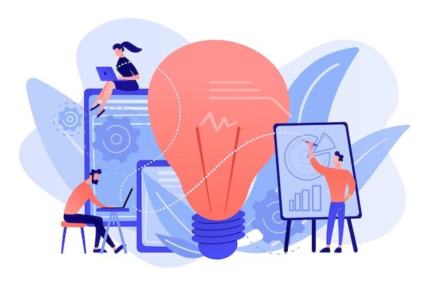 Mensen uit het bedrijfsleven analyseren en gloeilamp. competitieve intelligentie en milieu, informatie en marktanalyseconcept op witte achtergrond.