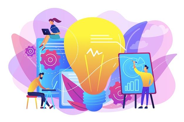 Mensen uit het bedrijfsleven analyseren en gloeilamp. competitieve intelligentie en milieu-, informatie- en marktanalyseconcept