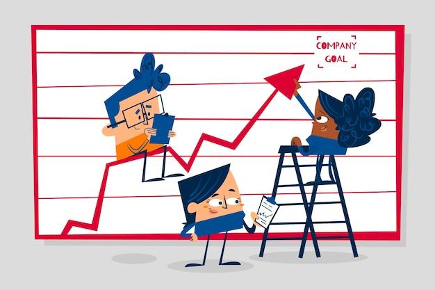 Mensen uit het bedrijfsleven analyseren groeigrafieken