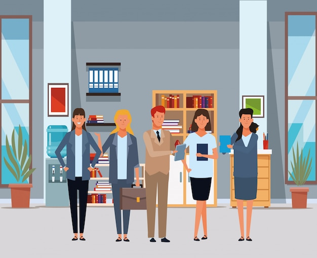 Mensen uit het bedrijfsleven avatar stripfiguren in het kantoor