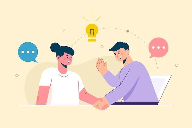 Mensen uit het bedrijfsleven behandelen nieuw idee. staan op kolomdiagrammen. het concept van zakelijke doelen, succes, bevredigende prestatie.