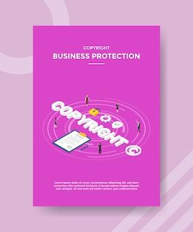 Mensen uit het bedrijfsleven bescherming staan rond woord copyright-overeenkomst