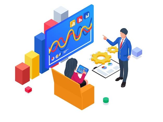 Mensen uit het bedrijfsleven bespreken hun bedrijfsstrategie isometrische illustratie van het opstarten van een bedrijf