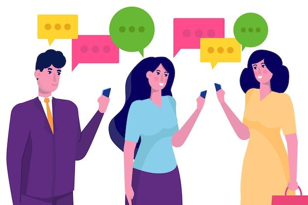 Mensen uit het bedrijfsleven bespreken sociaal netwerk concept, dialoog tekstballonnen.