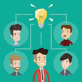 Mensen uit het bedrijfsleven bespreken zakelijke ideeën.