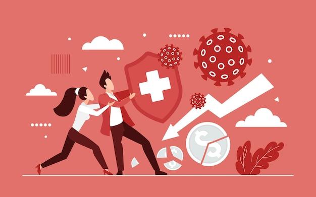 Mensen uit het bedrijfsleven bestrijden coronavirus met schildconcept