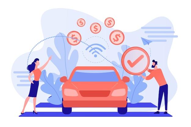 Mensen uit het bedrijfsleven betalen in een voertuig dat is uitgerust met een betalingssysteem in de auto. in voertuigbetalingen, in-car betalingstechnologie, modern concept voor retaildiensten