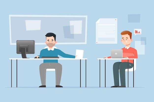 Mensen uit het bedrijfsleven bij bureaus samen