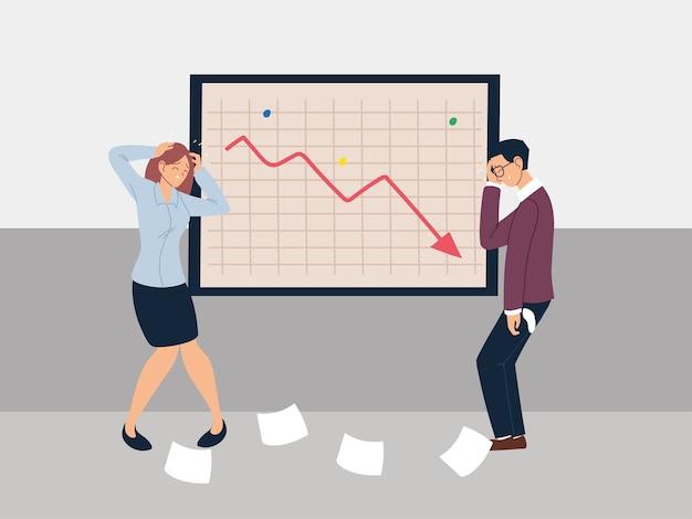 Mensen uit het bedrijfsleven bij de presentatie van de afnemende grafiek, het ontwerp van de financiële crisisillustratie