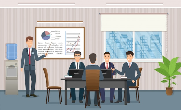 Mensen uit het bedrijfsleven bijeen in kantoor. zakenman die een presentatie van project geeft.