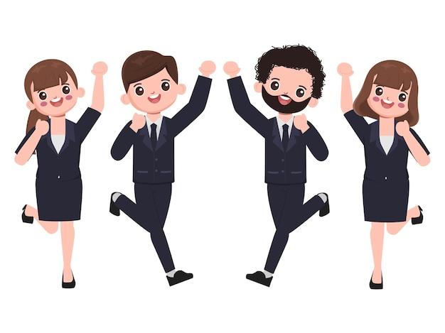 Mensen uit het bedrijfsleven blij met een succesvolle baan