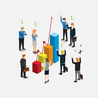 Mensen uit het bedrijfsleven blij met staafdiagram groei