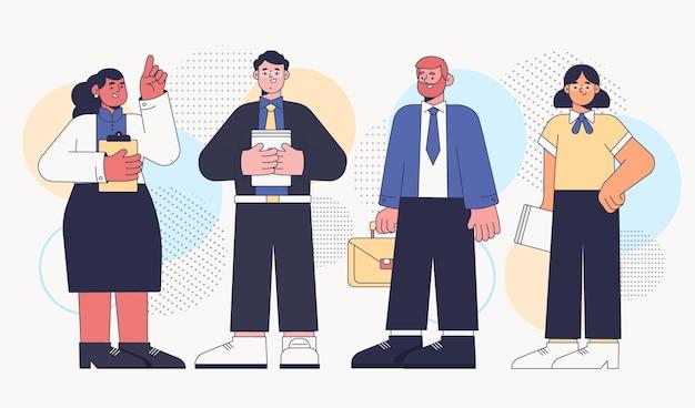 Mensen uit het bedrijfsleven collectie plat ontwerp