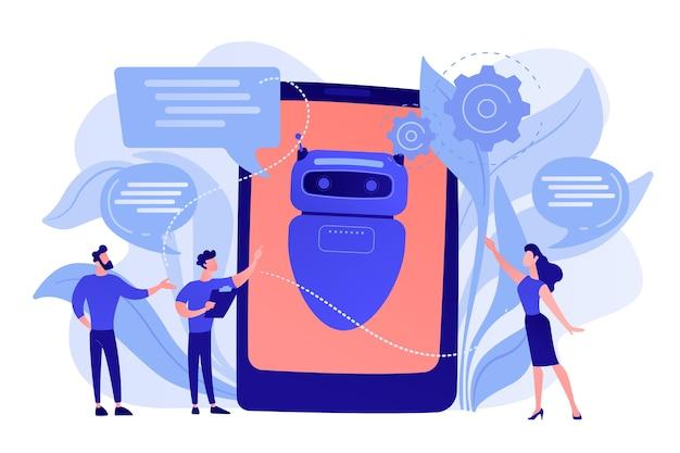 Mensen uit het bedrijfsleven communiceren met de chatbot-applicatie. chatbot kunstmatige intelligentie, talkbots-service, interactief agentondersteuningsconcept