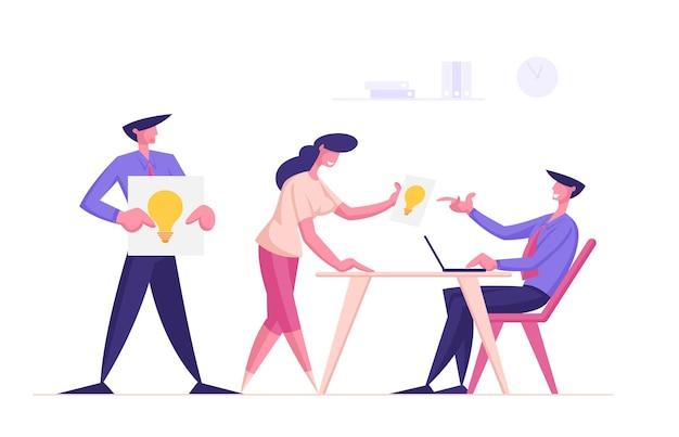Mensen uit het bedrijfsleven delen ideeën met mannelijke en vrouwelijke karakters van de baas die bladen met gloeilampen geven