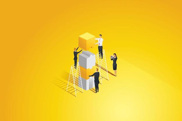 Mensen uit het bedrijfsleven die elkaar van puzzelstukjes verbinden