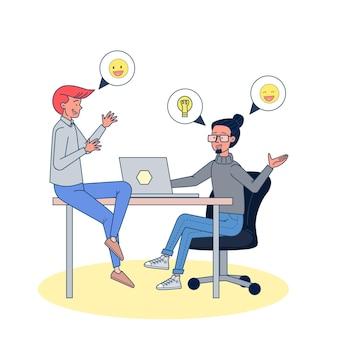 Mensen uit het bedrijfsleven discussie planning visie positieve werknemer.