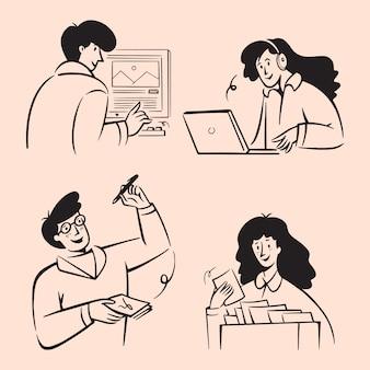 Mensen uit het bedrijfsleven doodles. handgetekende lijnen art stijl ontwerp illustraties