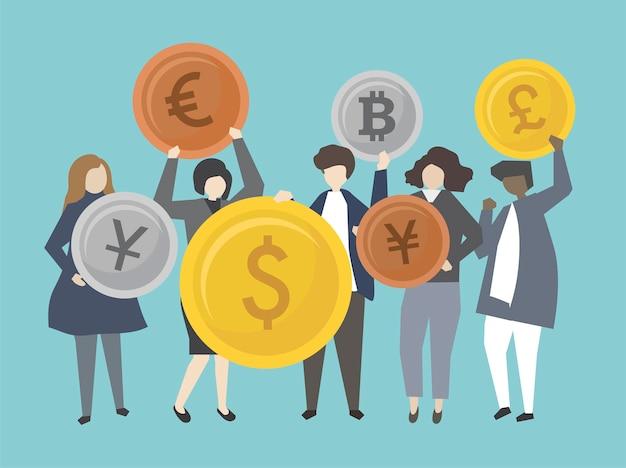 Mensen uit het bedrijfsleven en bankiers met geld illustratie