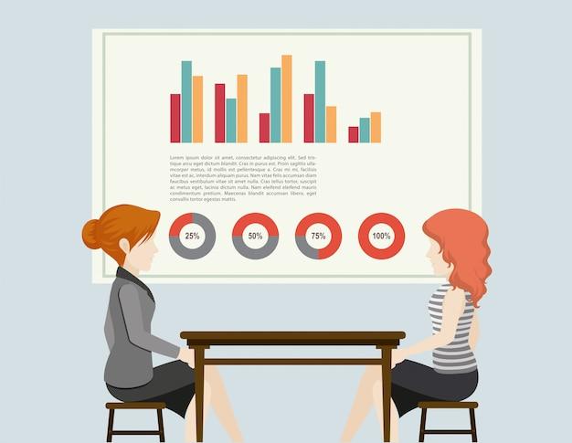 Mensen uit het bedrijfsleven en grafieken