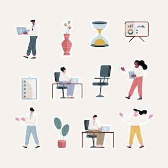 Mensen uit het bedrijfsleven en kantoorapparatuur