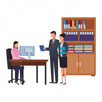 Mensen uit het bedrijfsleven en office-elementen