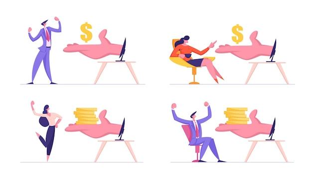 Mensen uit het bedrijfsleven, freelancers verdienen geld in internet online investment concept