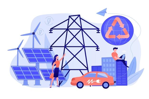 Mensen uit het bedrijfsleven gebruiken schone, hernieuwbare elektrische energie in de stad