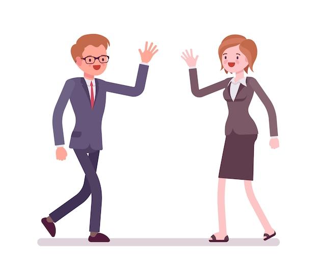 Mensen uit het bedrijfsleven gelukkige groet