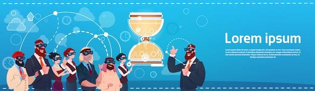 Mensen uit het bedrijfsleven groep dragen digitale bril gebruik laptopcomputer stuur horloge deadline concept