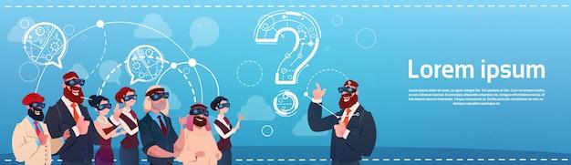 Mensen uit het bedrijfsleven groep slijtage digitale werkelijkheid bril vraagteken ponder probleem concept