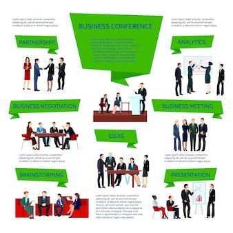 Mensen uit het bedrijfsleven groeperen infographics tijdens het plannen van de conferentie-briefing