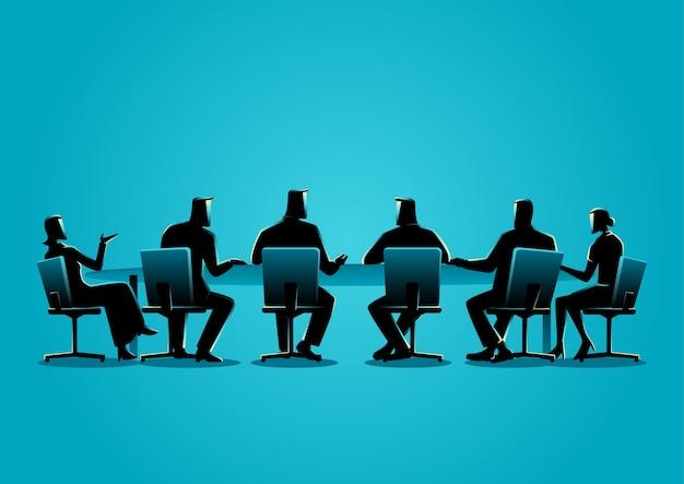 Mensen uit het bedrijfsleven hebben een vergadering