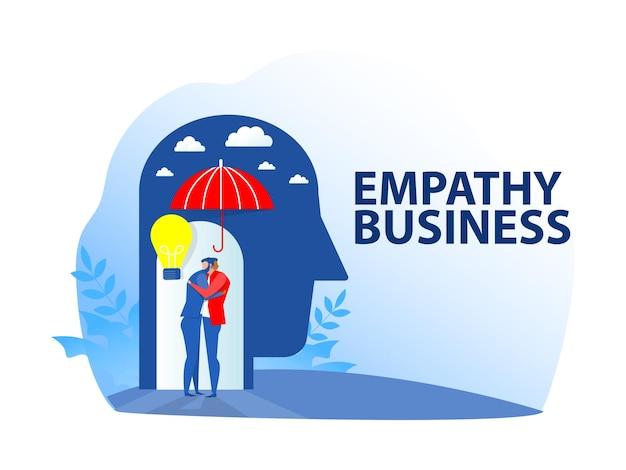 Mensen uit het bedrijfsleven helpen werknemers van pit empathie concept. vectorillustratie