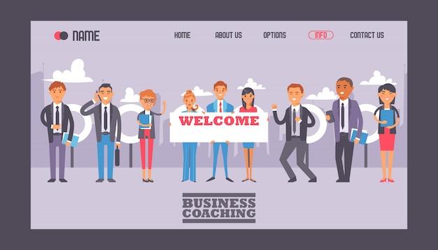Mensen uit het bedrijfsleven houden bord met tekst welkom web sjabloon website