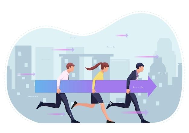 Mensen uit het bedrijfsleven houden pijl en samen vooruit. zakelijk succes en teamwork concept.
