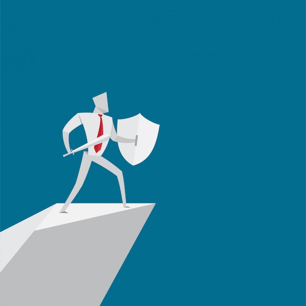 Mensen uit het bedrijfsleven houden zwaard en schild origami papier stijl