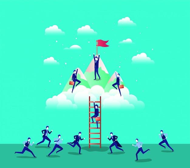 Mensen uit het bedrijfsleven in de bergen met vlag met trap
