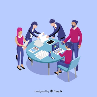 Mensen uit het bedrijfsleven in een isometrische vergadering