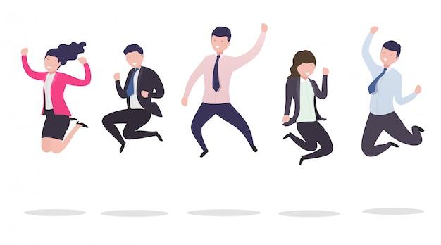 Mensen uit het bedrijfsleven in een sprong