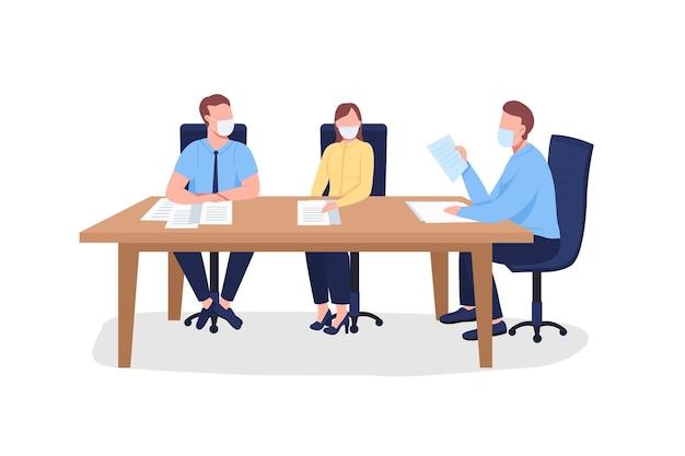 Mensen uit het bedrijfsleven in gezichtsmasker zittend aan tafel egale kleur anonieme karakters